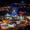 The Track and the Branson Ferris Wheel at night in Branson MO