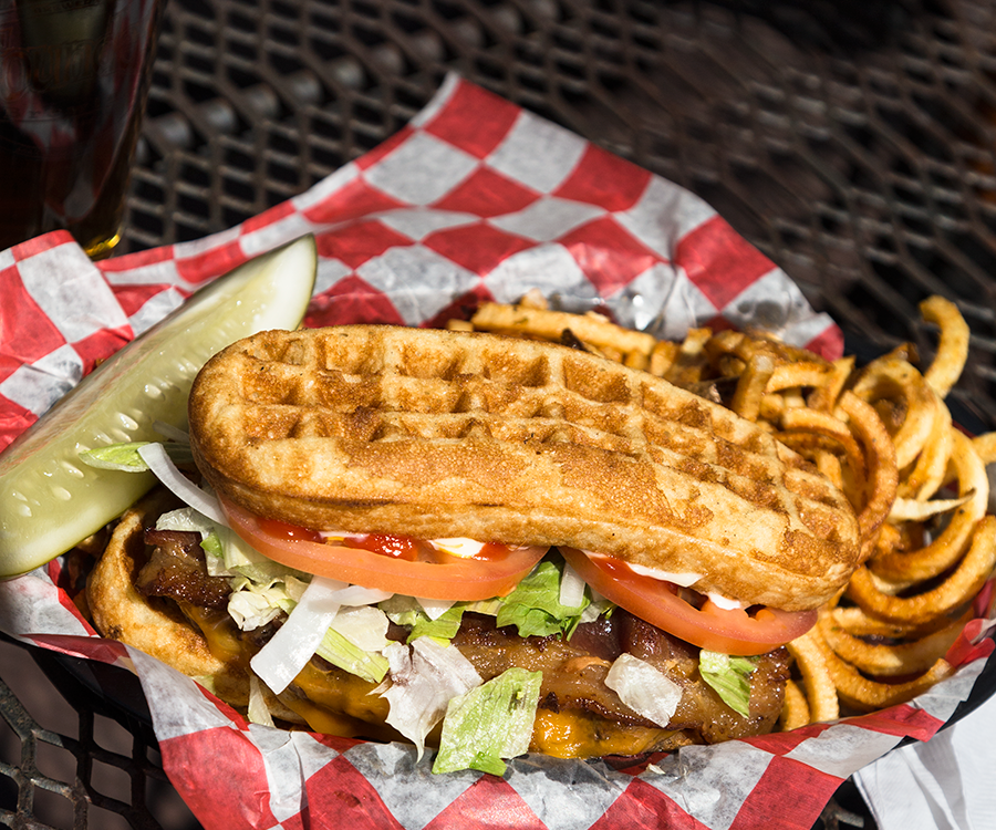 Waffle burger at 417 Taphouse.