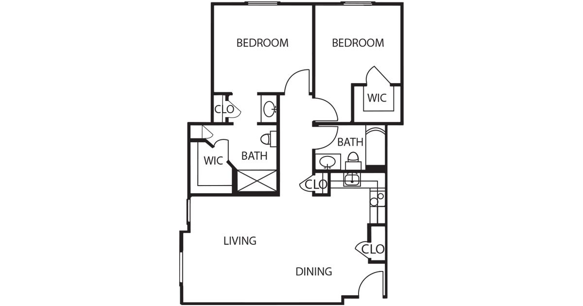 The Waterford at Ironbridge 2 Bedroom Layout