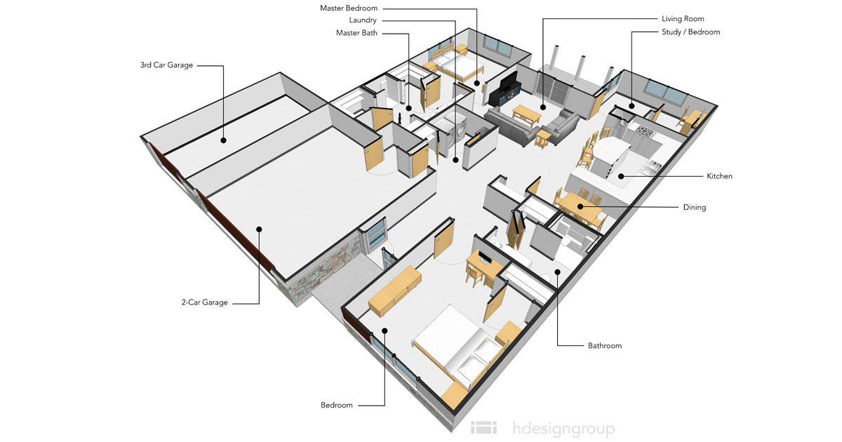 TLC Properties - 55+ Luxury Apartments - 3 Bedroom Layout