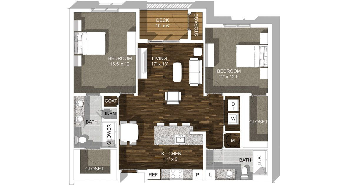 TLC Properties - 55+ Luxury Apartments - 2 Bedroom Layout
