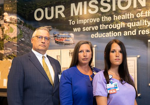 William Mahoney, Lynne Yaggy and Brittany Durrer of Cox Medical Center Branson