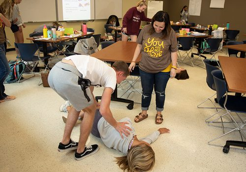 Kickapoo High School students learning how to handle a mental health crisis