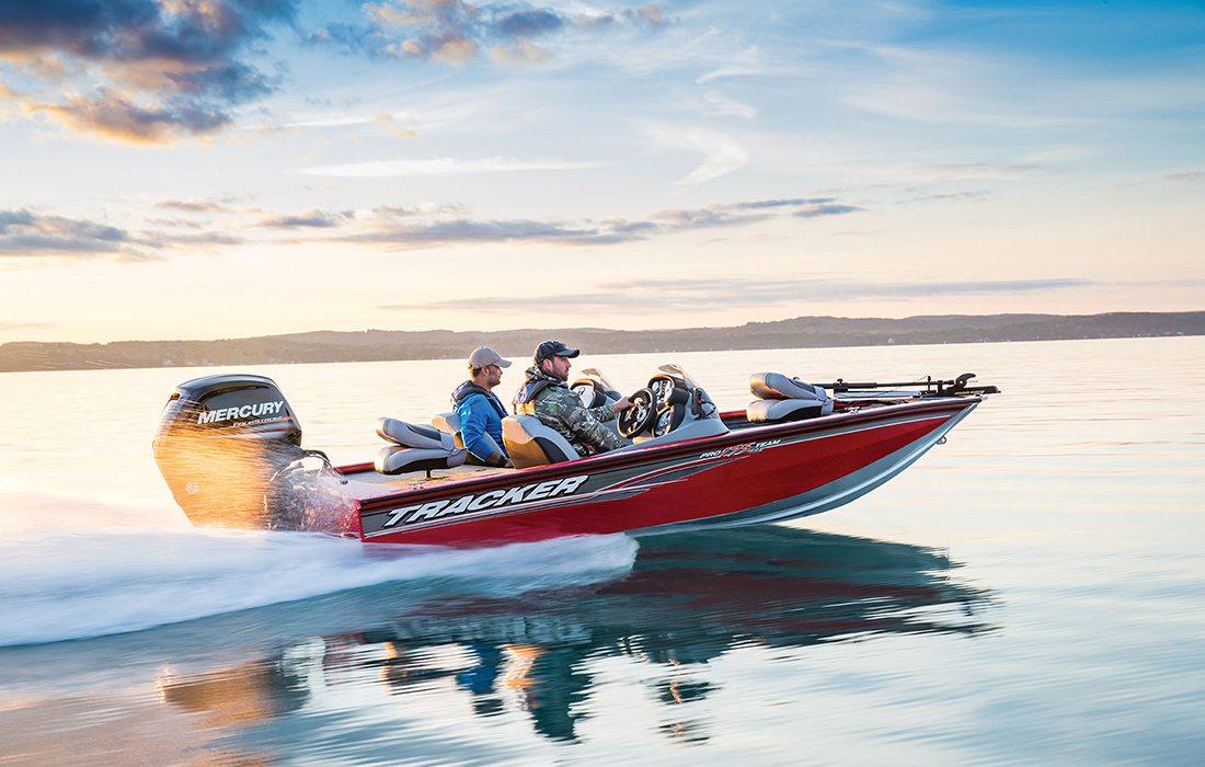 Tracker fishing boat on a lake