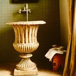 Slider Thumbnail: Urn sink in powder bathroom by Cindy Love Interiors.