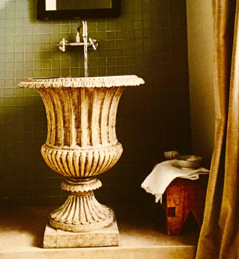 Urn sink in powder bathroom by Cindy Love Interiors.
