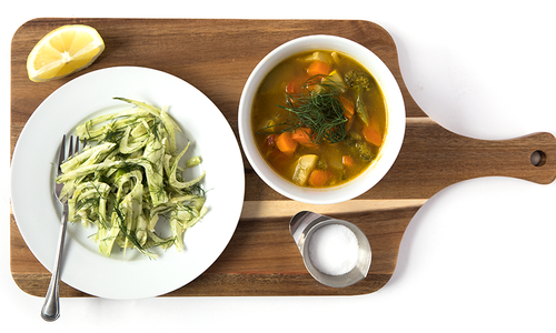 Vegetable Soup and Fennel Salad
