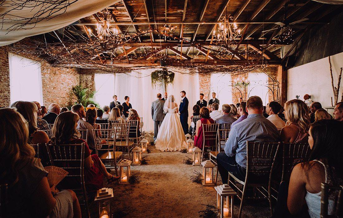 Wedding ceremony at Venue on Brick in Ozark MO