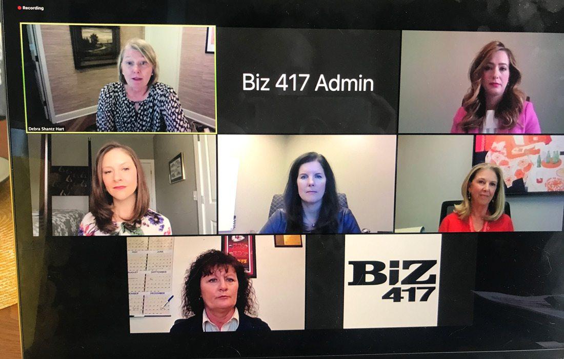 Virtual B-School call on screen.