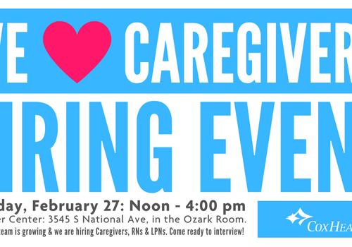 We LOVE Caregivers Hiring Event promo