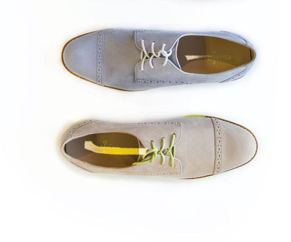 Blue and tan suede Oxford shoes