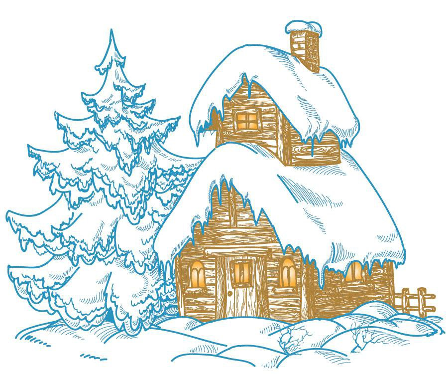 Home in winter illustration