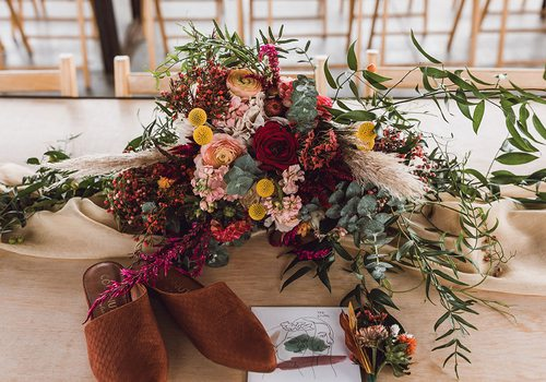 Bold floral wedding arrangement