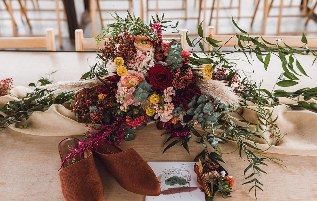 Bold floral wedding arrangement