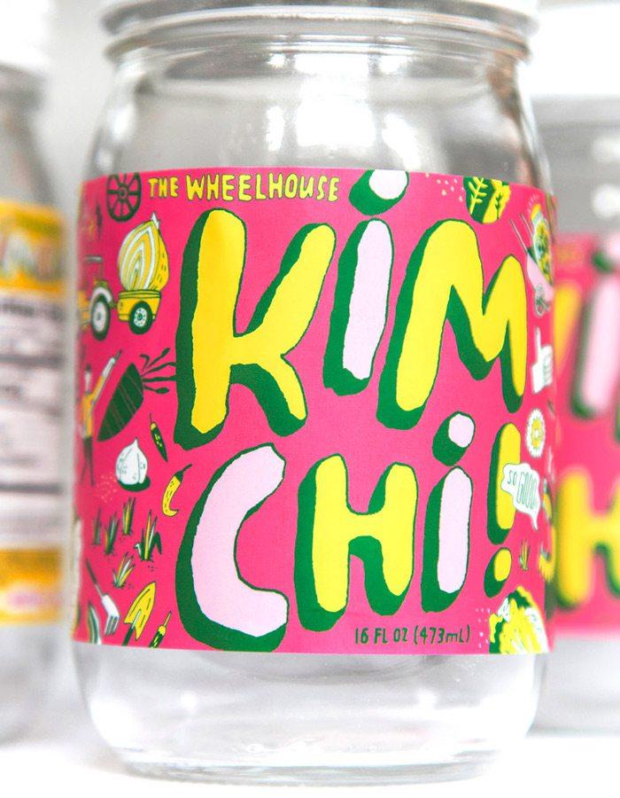 Wheelhouse Kimchi label design by Frank Norton