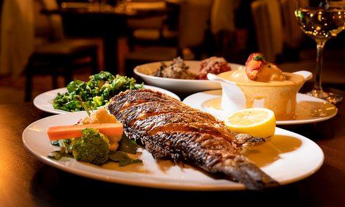 Whole sea bass dish at Char