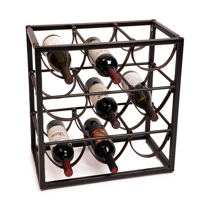 Wrought iron wine rack.
