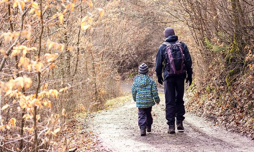 Father and son on a winter hike