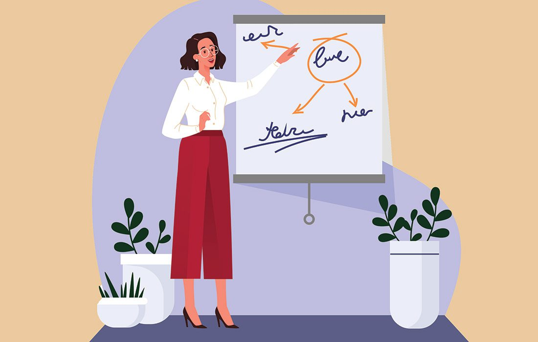 illustration of a business woman giving a presentation
