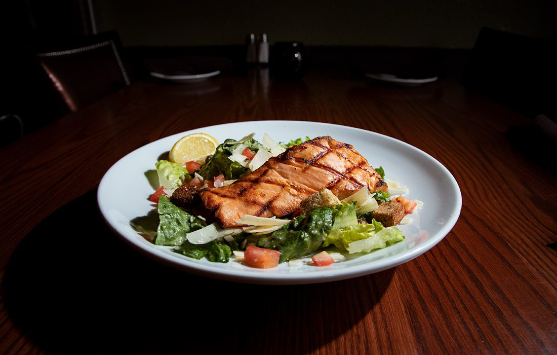 Salmon Ceaser Salad at Jimm's Steakhouse & Pub