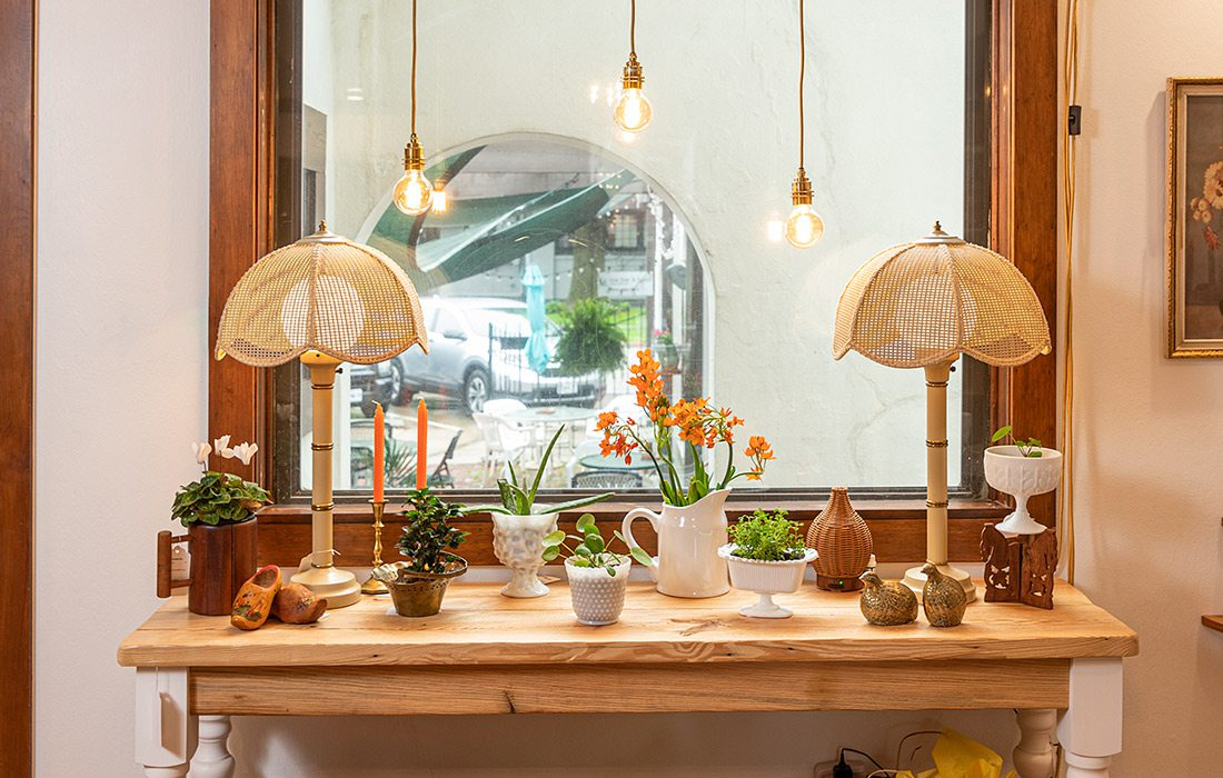 Table decorated in front of window