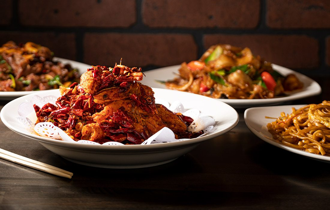 Szechuan Shrimp,  Cumin Lamb with cilantro, Fried Pumpkin with Egg Sauce, House Stir Fry Noodles and Twice Cooked Pork