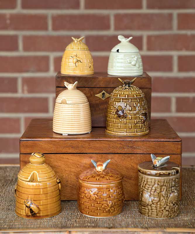 stacks of ceramic honey pots
