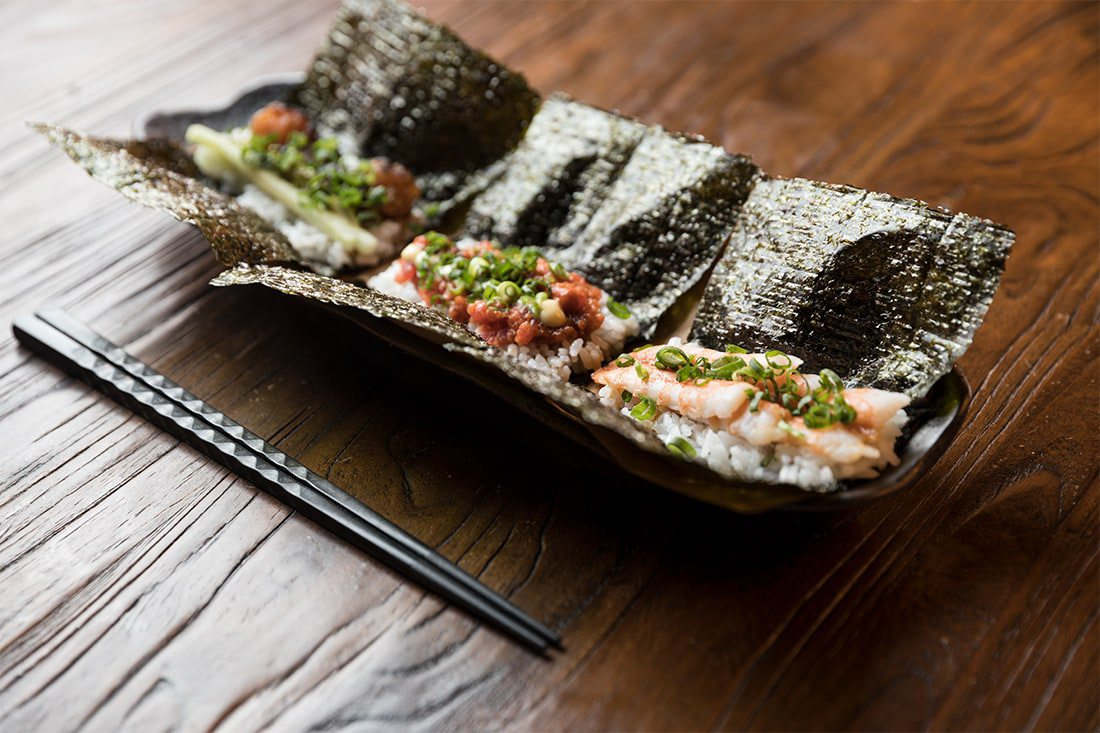 Sushi handrolls can be ordered with lobster, shrimp or spicy tuna