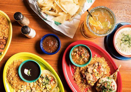 Los Cabos tacos, tamales, margarita, chips and salsa