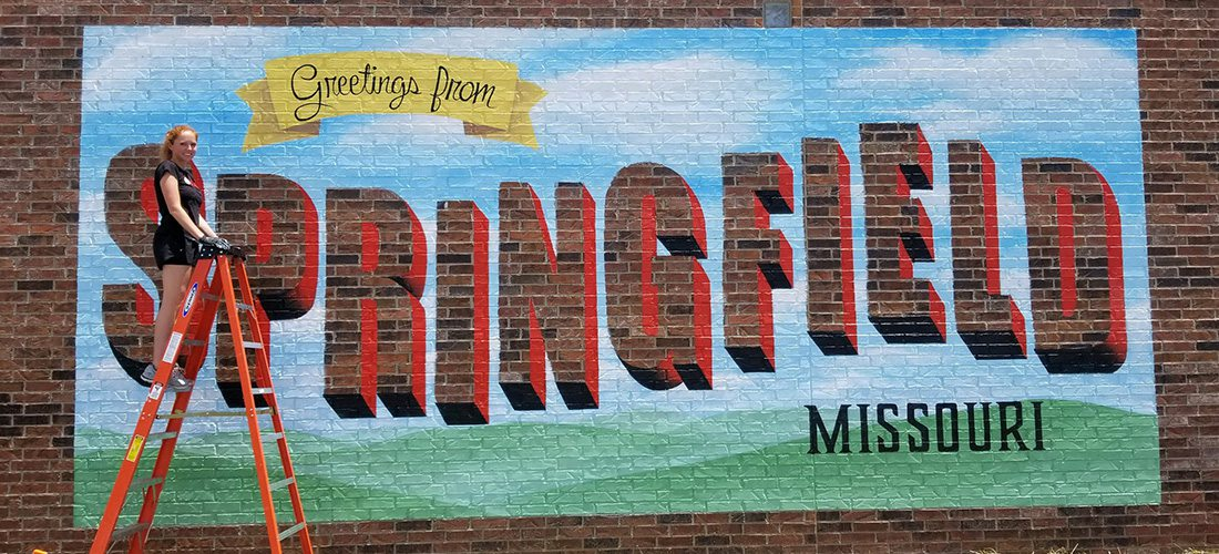 greetings from Springfield mural and Andrea Ehrhardt