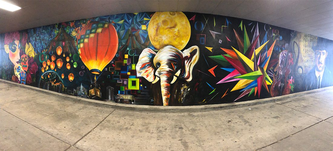 colorful mural in bank tunnel in Springfield, MO