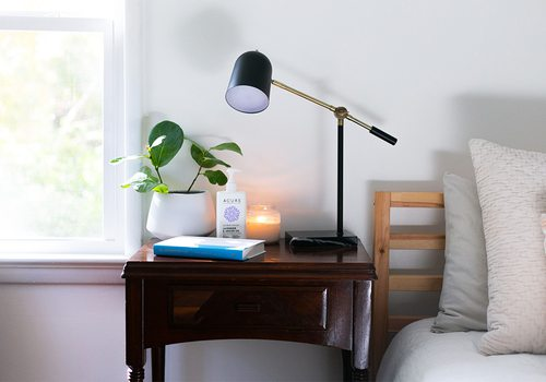 nightstand with lamp, plants and a book