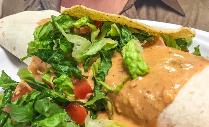 Big Fat Burrito golden burrito with lettuce.