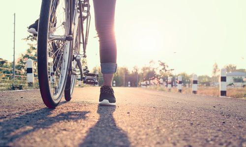Biking on trail