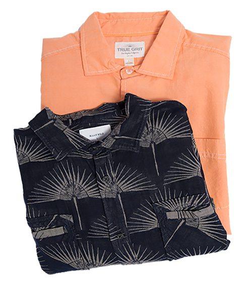 True Grit orange shirt and Billy Reid standard blue chambray shirt
