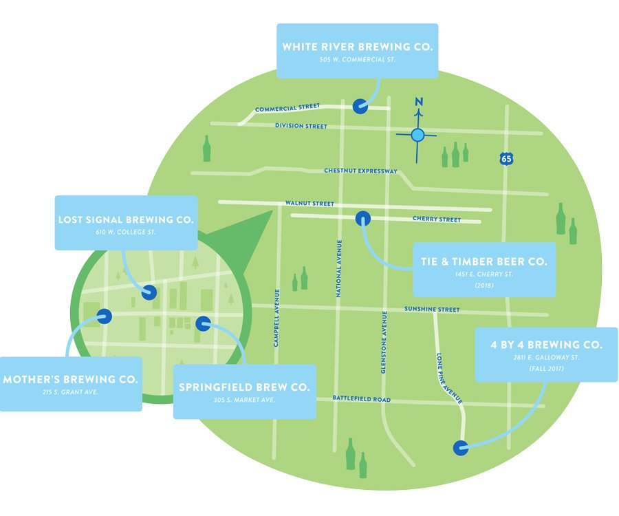 Springfield's Ultimate Craft Brewery Crawl on map of paris tourist attractions, map puzzles, map art, map services, map design,