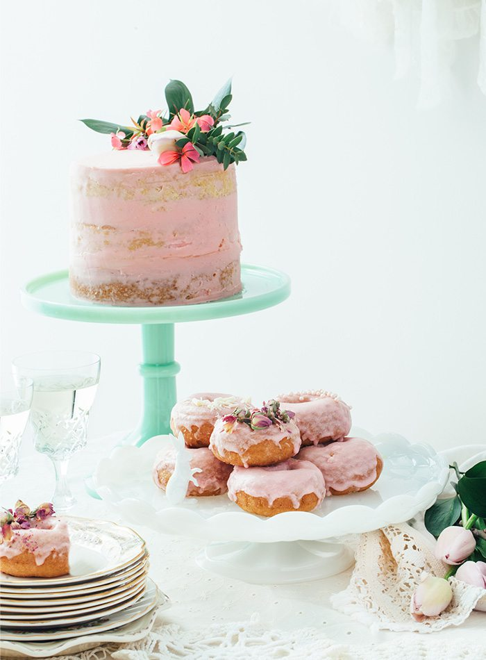 cakes and donuts at a wedding