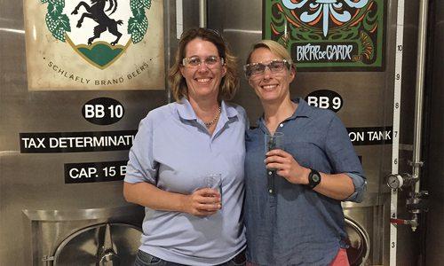 carol McLeod and Susan McLeod touring a brewery