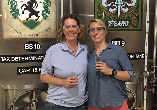 carol McLeod and Susan McLeod touring a brewery
