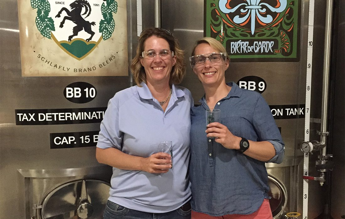 Susan and Carol McLeod, tasting beer during a brewery tour