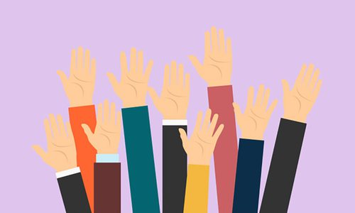 Illustration of raised hands on colorful background.
