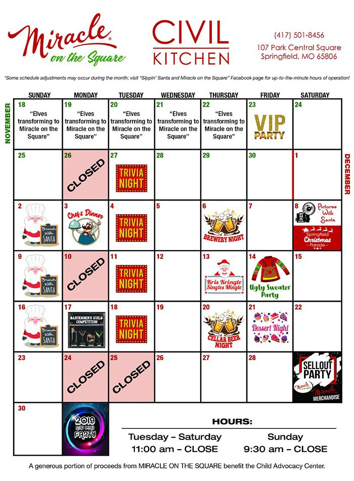Civil Kitchen Miracle on the Square schedule 2018