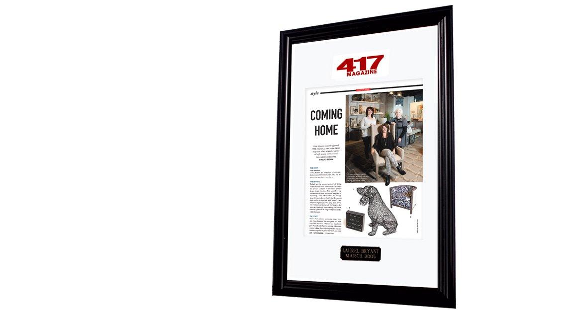Custom framing from 417 Magazine