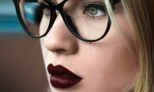 Dark lipstick on model