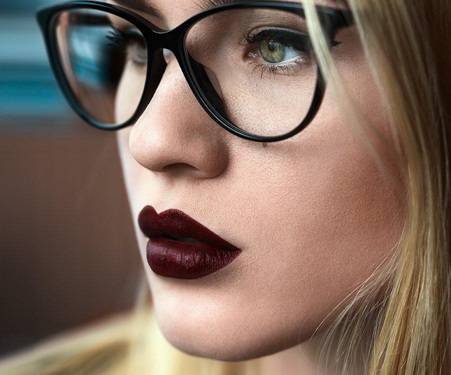 Dark lipstick on model