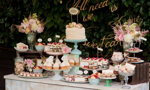 a dessert table at a wedding