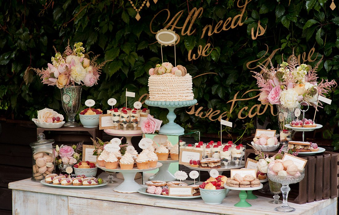 dessert table at a wedding