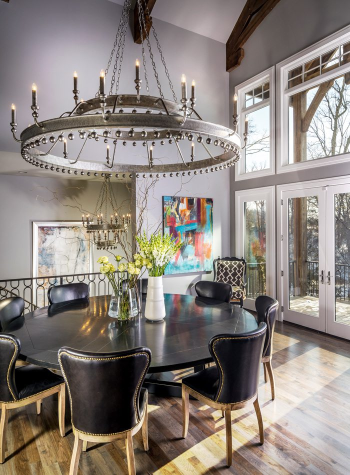 Dining room with steel chandelier.