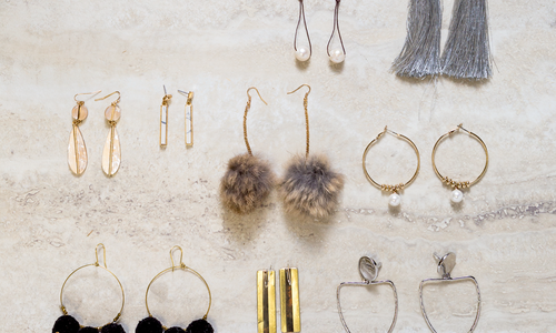 Geometric, Beaded, Furry Statement Earrings
