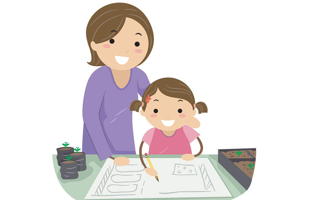 mom and daughter working together